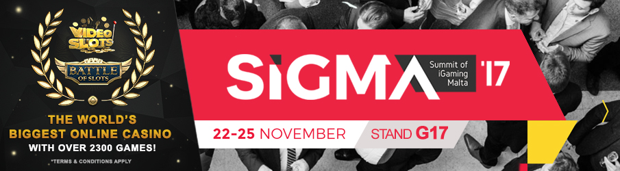 Videoslots.com will be visiting Sigma 2017  – Meet us at STAND G17